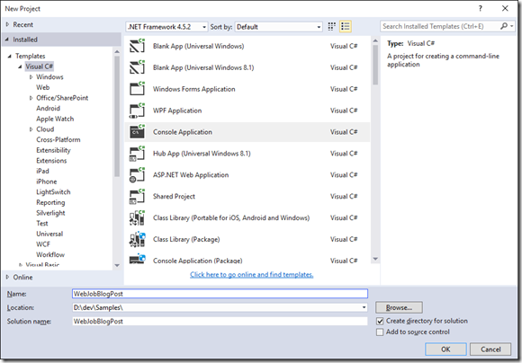 Visual Studio New Console Application Dialog